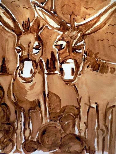 Malerei, Kaffeemalerei, Tiere, Esel