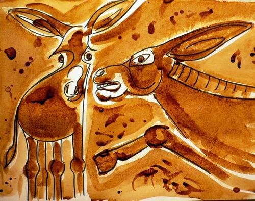 Kaffeemalerei, Tiere, Abstrakt, Esel, Malerei