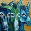Expressive malerei, Blau, Esel, Drei esel
