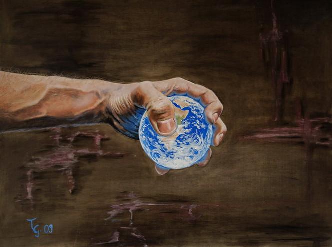 Hand, Welt, Zerdrücken, Druckstellen, Erde, Malerei