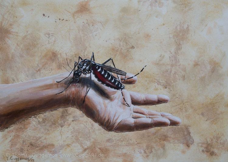 Stechmücke, Moskito, Hand, Junky, Blut, Malerei