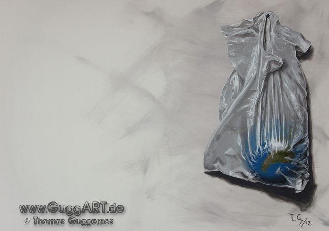 Surreal, Acrylmalerei, Blau, Einkaufen, Tüte, Plastik