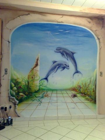 Illusionsmalerei, Skizze, Wandmalerei, Zeichnung, Zeichnungen, Wasser