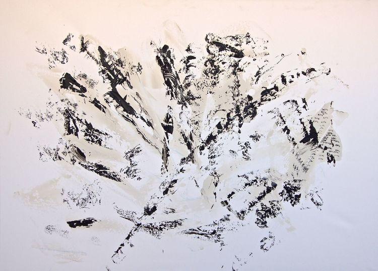 Abstrakt, Schwarz, Blumen, Malerei