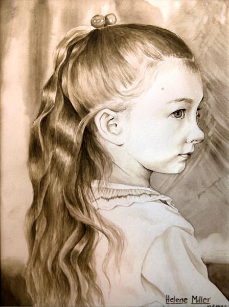 Mädchen, Portrait, Aquarellmalerei, Figural, Malerei
