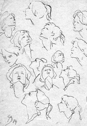 Studie, Bleistiftzeichnung, Skizze, Kopf, Weiblich, Zeichnungen