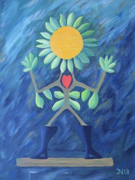 Farben, Bunt, Person, Frau, Garten, Malerei
