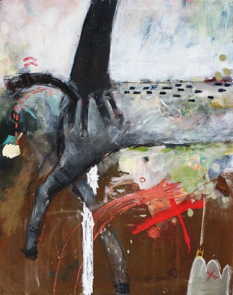 Naive malerei, Krähe, Wachs, Rabe, Ramona zirk, Pferde