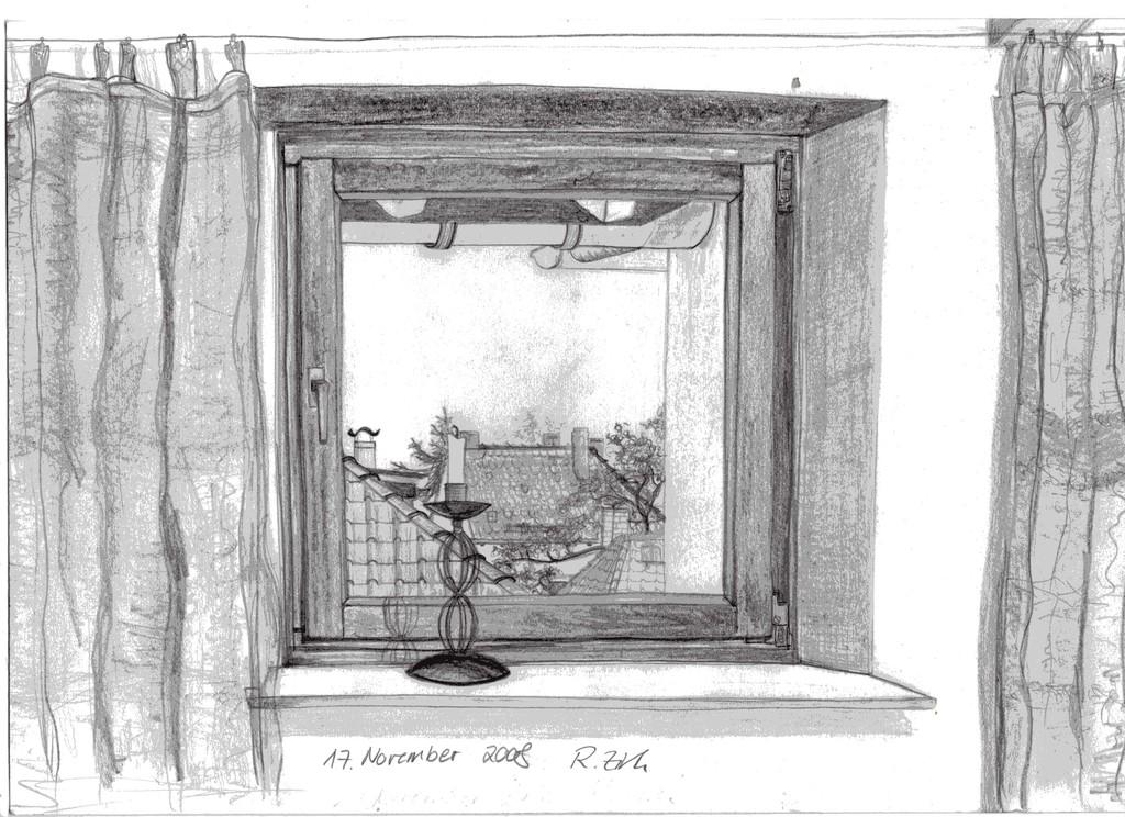 blick aus dem fenster bild kunst von mona bei kunstnet. Black Bedroom Furniture Sets. Home Design Ideas