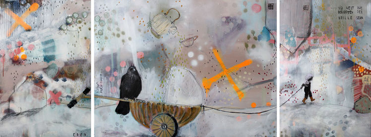 Spaziergang, Mixedmedia, Krähe, Ramonazirk, Triptychon, Kinderwagen