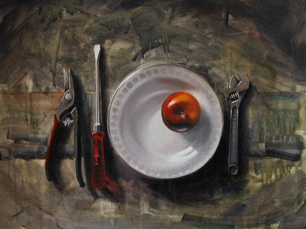 Apfel, Stillleben, Malerei, Acrylmalerei, Bad