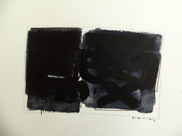 Indigo, Abstrakt, Schwarz, Malerei