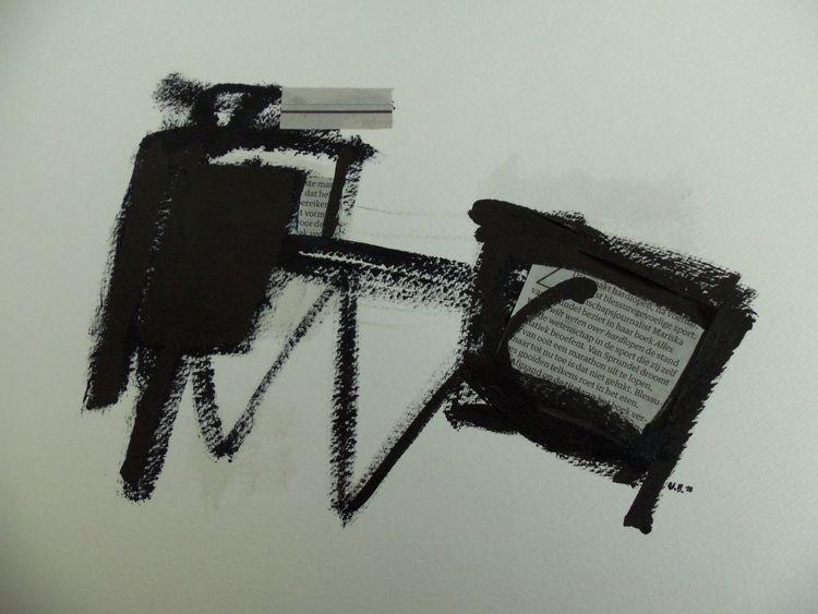 Schwarz, Weiß, Landschaft, Mischtechnik