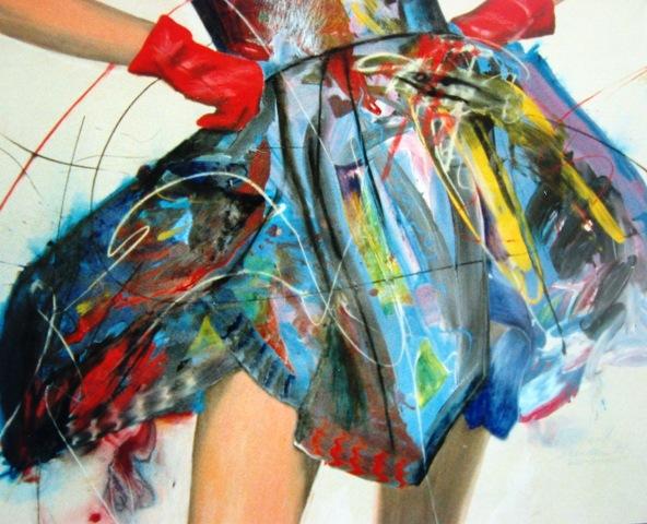 Frau, Sommerkleid, Kleid, Sommer, Malerei, Surreal