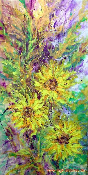 Abstrakt, Feldblumen, Acrylmalerei, Blumen, Malerei, Sonnenblumen