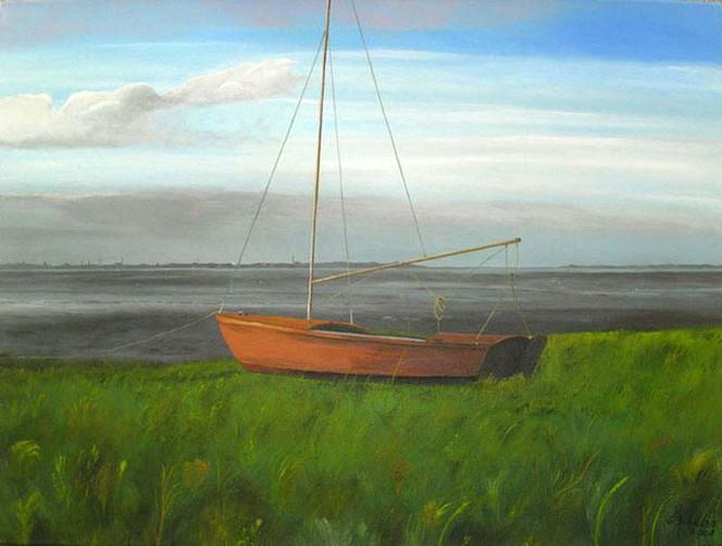 Meer, Nordsee, Dangast, Acrylmalerei, Malerei, Boot