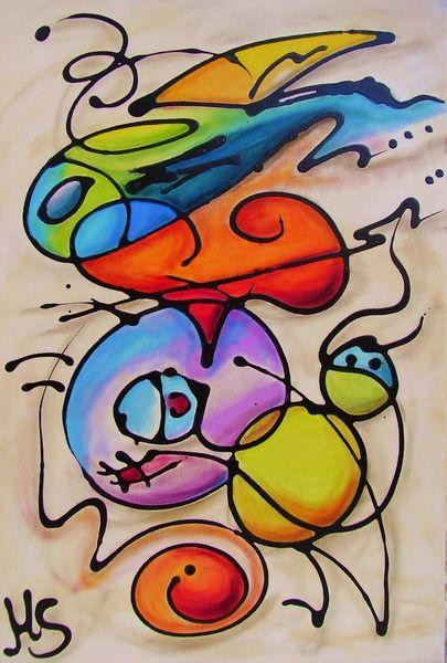 Bunt, Leben, Fröhlichkeit, Abstrakt, Malerei,