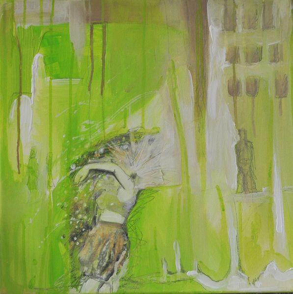 Haus, Frau, Grün, Stadt, Acrylmalerei, Tanz