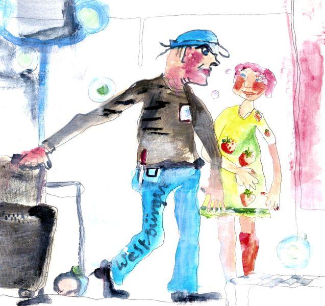 Weltbürger, Erdbeeren, Komposition, Blau, Malerei, Menschen
