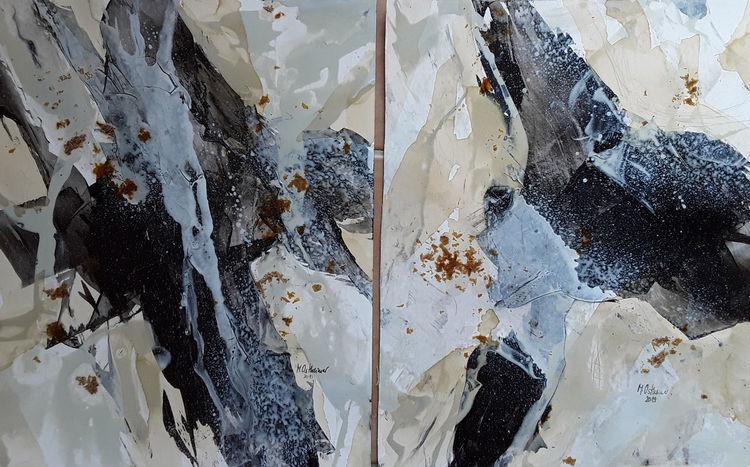 Abstrakte malerei, Beige, Schwarz, Weiß, Malerei, Abstrakt