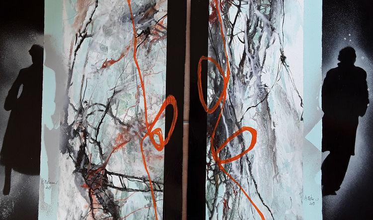 Abstrakte kunst, Schwarz, Grün, Orange, Menschen, Malerei