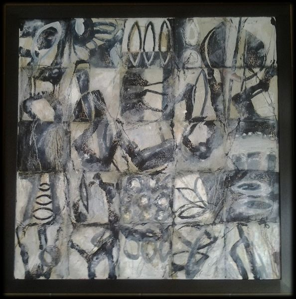 Blaugrau, Beige, Linie, Quadrat, Abstrakte malerei, Grau