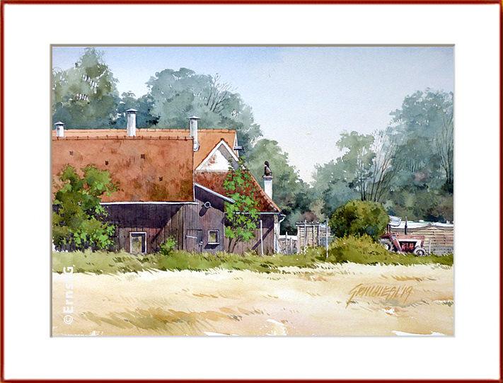Mühle, Landschaft, Outdoor, Aquarell
