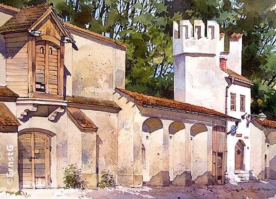 Schrobenhausen, Bürgerturm, Stadtmauer, Aquarell