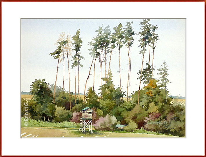 Sommer, Wald, Aquarell,