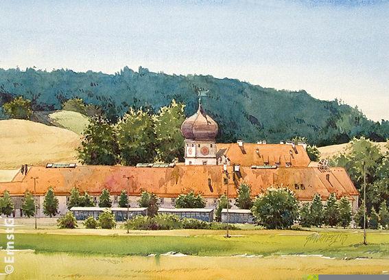 Hohenkammer, Schloss, Landschaft, Aquarell