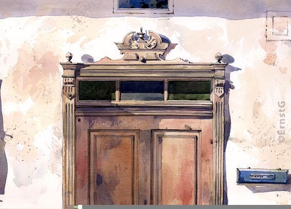 Eingangstüre, Holzverblendung, Holz, Aquarell