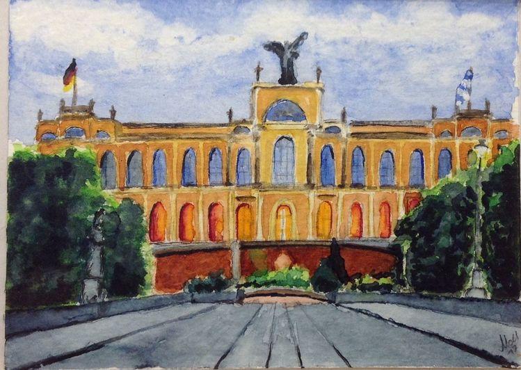Bayerisch, Landtag, Maximilansbrücke, Maximilianeum, München, Aquarell