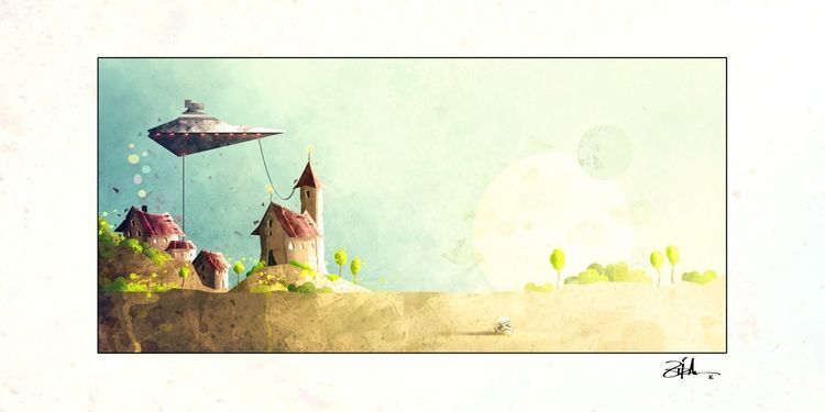 Sau, Tags, Illustrationen, Landschaft