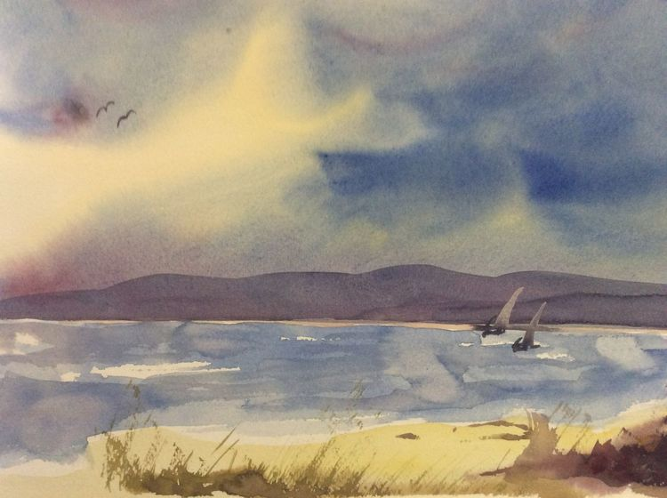 Boot, Schweden, Landschaft, Aquarell