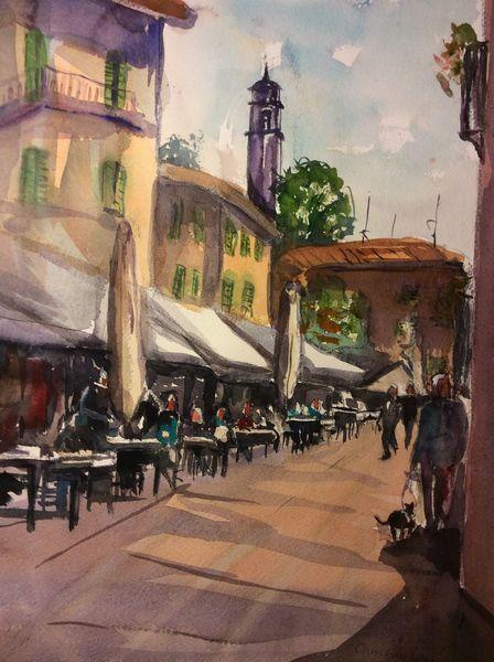 Cafe, Aquarellmalerei, Haus, Aquarell