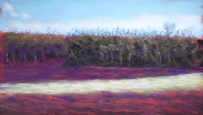 Baum, Landschaft, Frühlingsanfang, Pastellmalerei, Zeichnungen