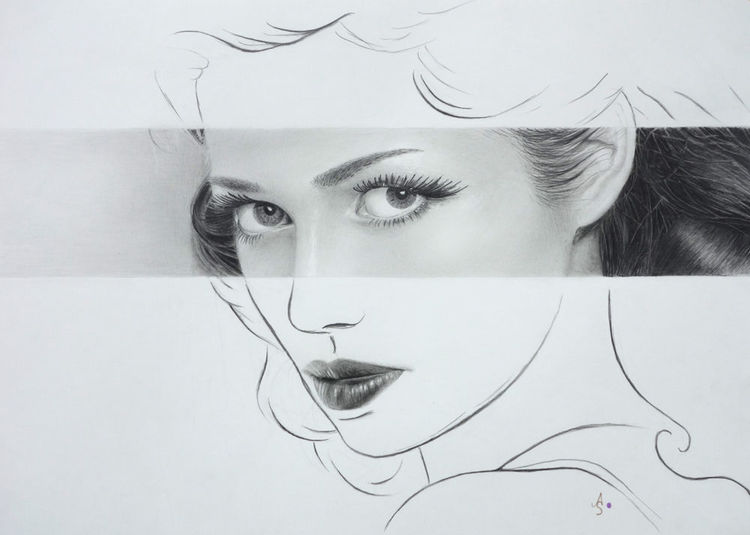 Frau, Portrait, Fotorealismus, Zeichnungen, Augenblick