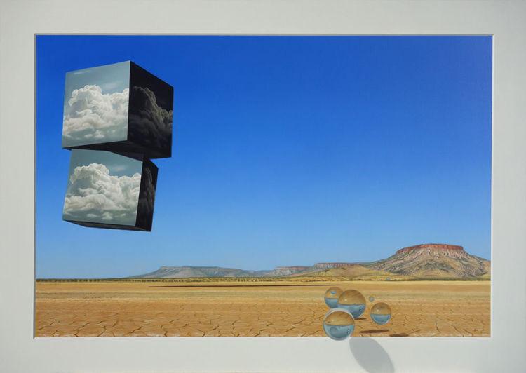 Klimawandel, Glaskugeln, Wüste, Wolken, Himmel, Malerei