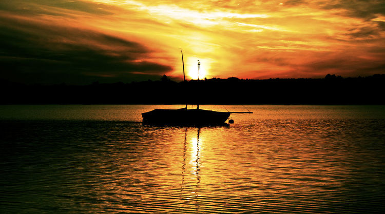 Horizont, Licht, Boot, Ufer, Himmel, Spiegelung