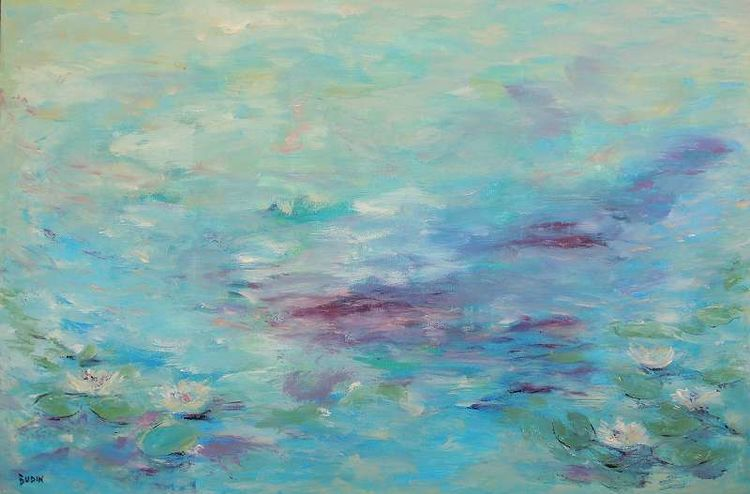 Unendlichkeit, Nebel, Blau, Teich, Seerosen, Acrylmalerei
