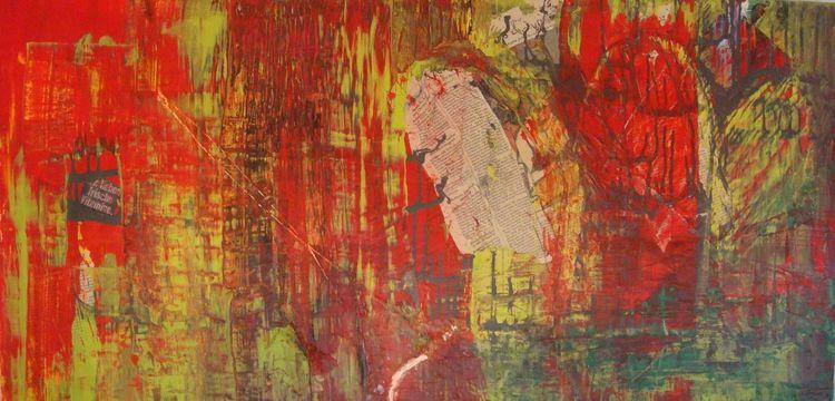 Zeitung, Bunt, Abstrakt, Acryl styropor, Collage, Malerei