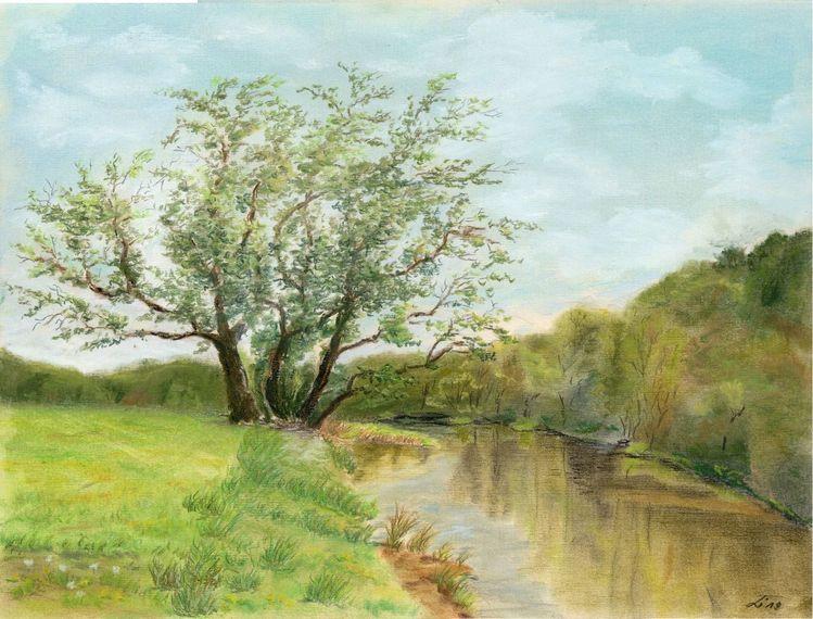 Mulde, Grimma, Wasser, Sachsen, Landschaft, Pastellmalerei