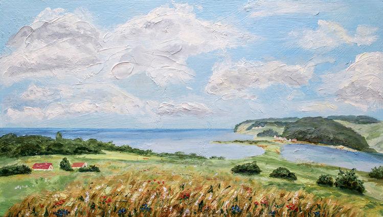 Ostsee, Landschaft, Meer, Feld, Steilküste, Wolken