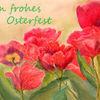 Rot, Pastellmalerei, Tulpen, Ostern