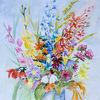 Sommerstrauß, Blumen, Sommer, Aquarell