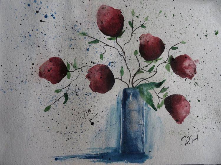 Rot, Aquarellmalerei, Natur, Blumen, Blumenstrauß, Aquarell kaufen