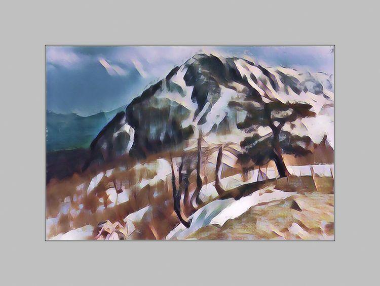 Berge, Süditalien, Monte pollino, Kalabrien, Aquarell