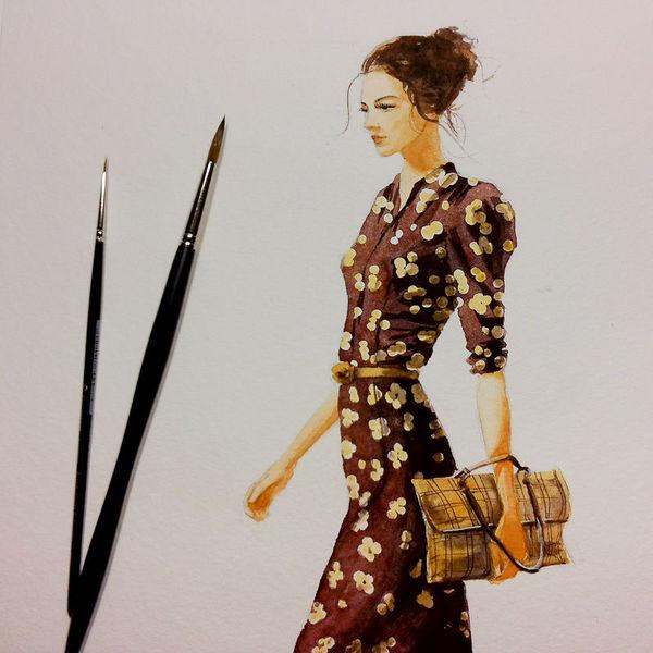 Portrait, Frau, Tantesarah, Aquarellmalerei, Aquarell,