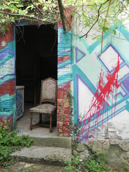 Stuhl, Eingang, Ruine, Rot, Fotografie