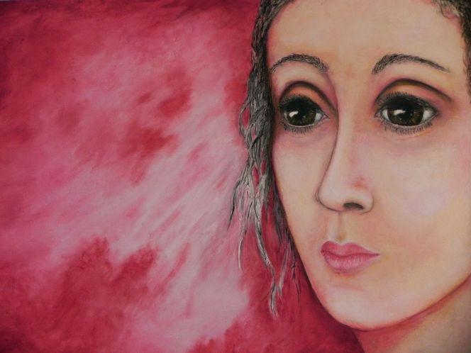 Rot, Berührung, Liebe, Rückseite, Augen, Malerei